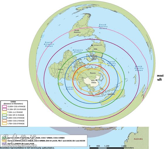 中国导弹的覆盖范围