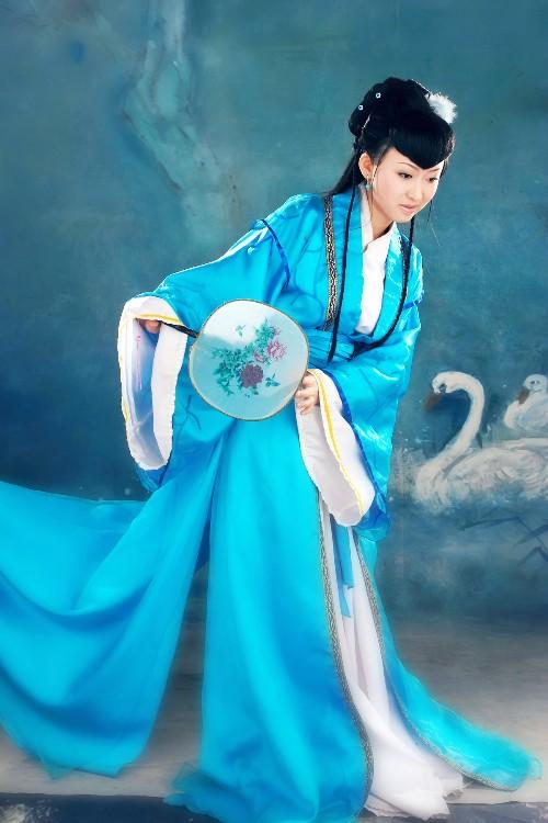 爬山虎手画_手绘古装蓝衣美女_手绘古装蓝衣美女画法