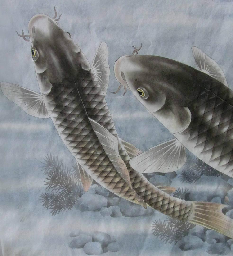 韦律练的工笔画 工笔鱼图片