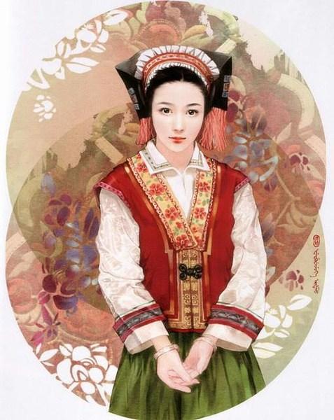 五十六个民族的画-56个民族 美女 画家