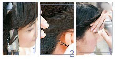 短发发型形成的步骤分解图   1、洗完头发并吹干后,用卷发高清图片