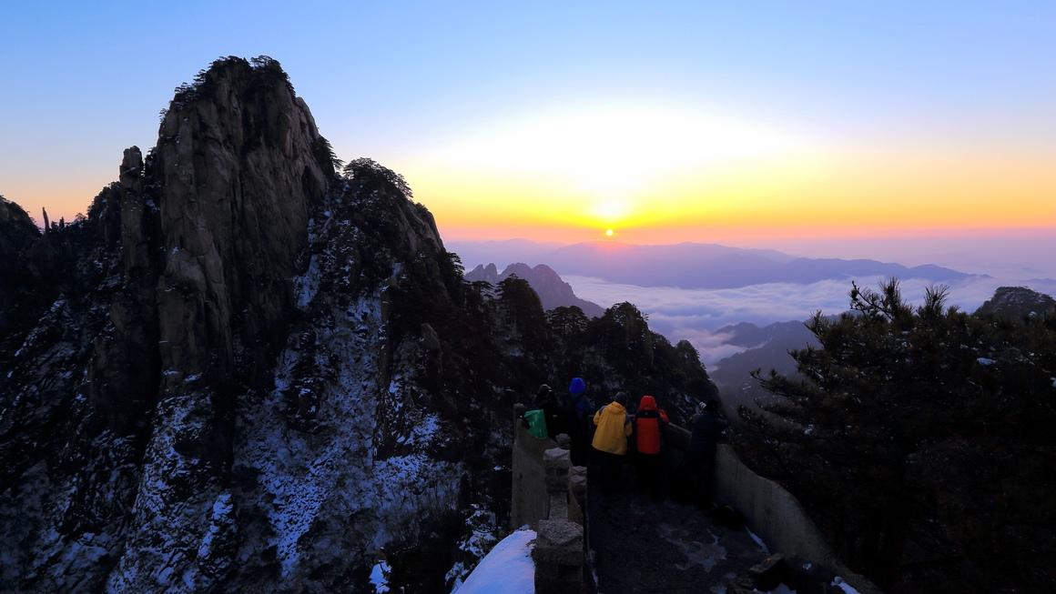 观黄山日出