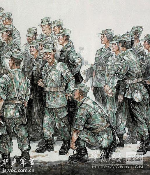 解放军训练生活油画