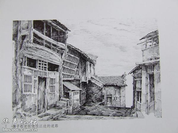 从素描画中看--四川重庆老民国城市建筑 - 图说