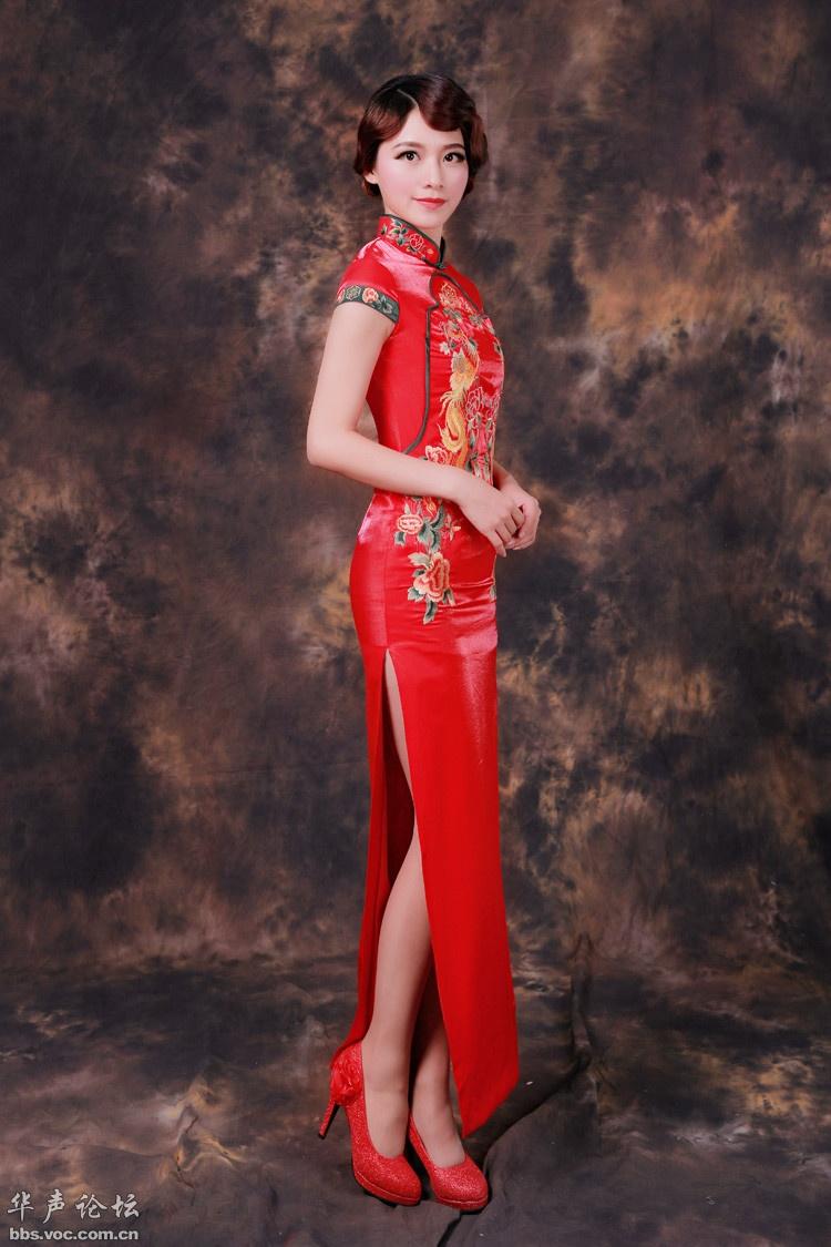 几张新娘红旗袍图片