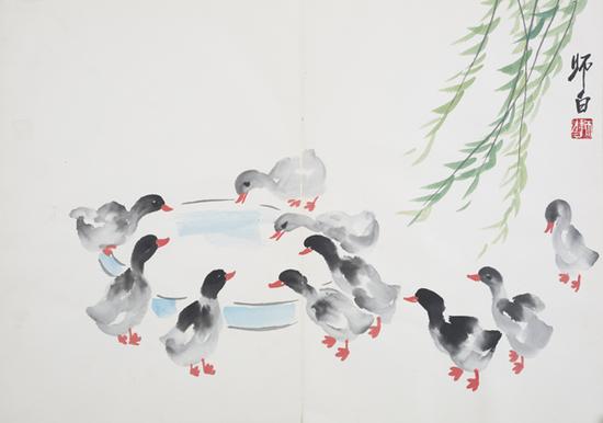 国画大师娄师白好画小鸭子图片