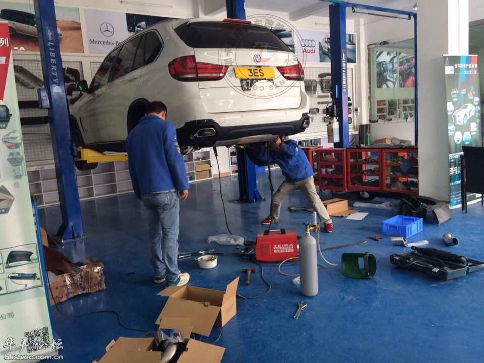 华丽变身高配 14款宝马x5改装方口排气管作业案例高清图片