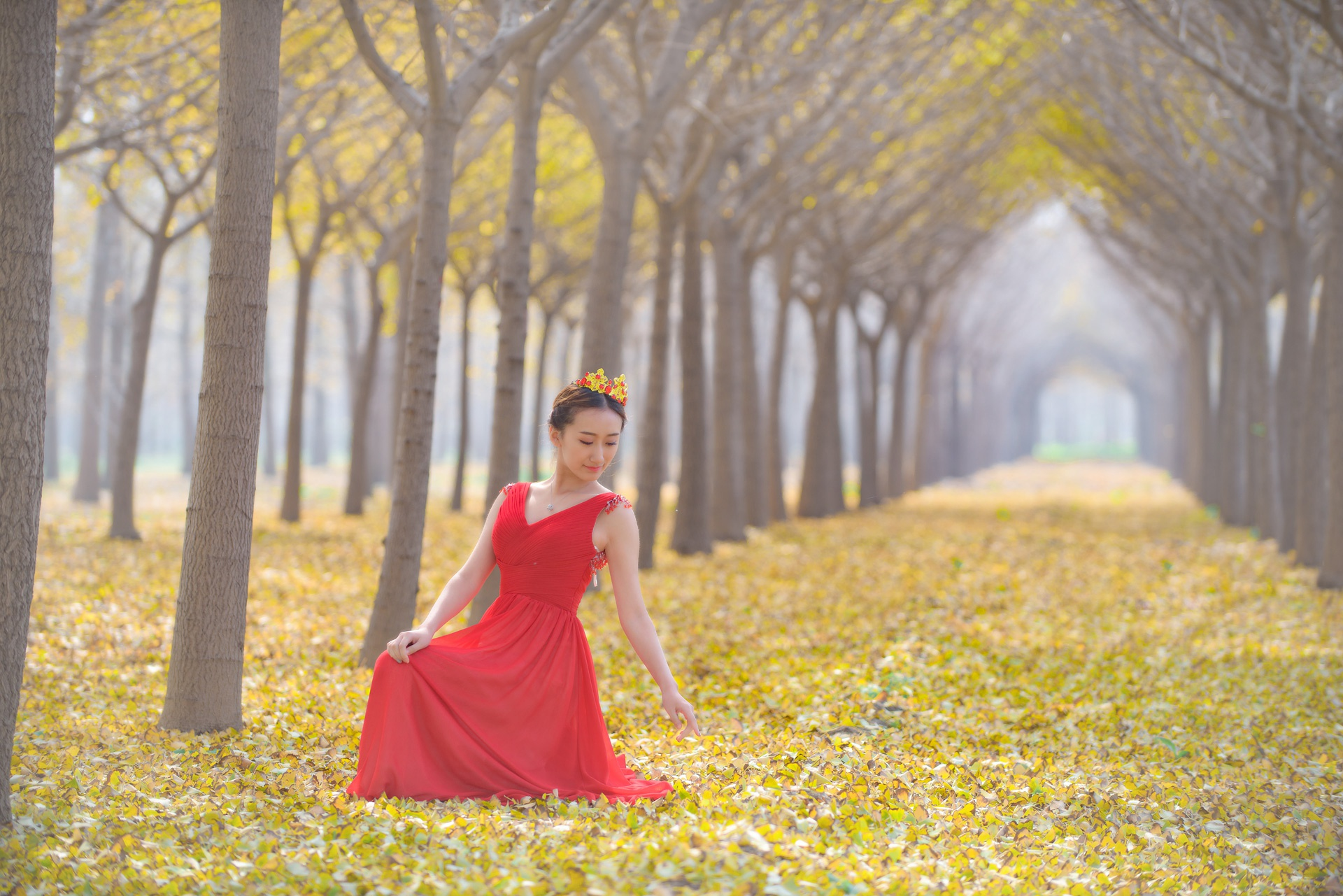 银杏林里  长裙美女 - 花開有聲 - 花開有聲