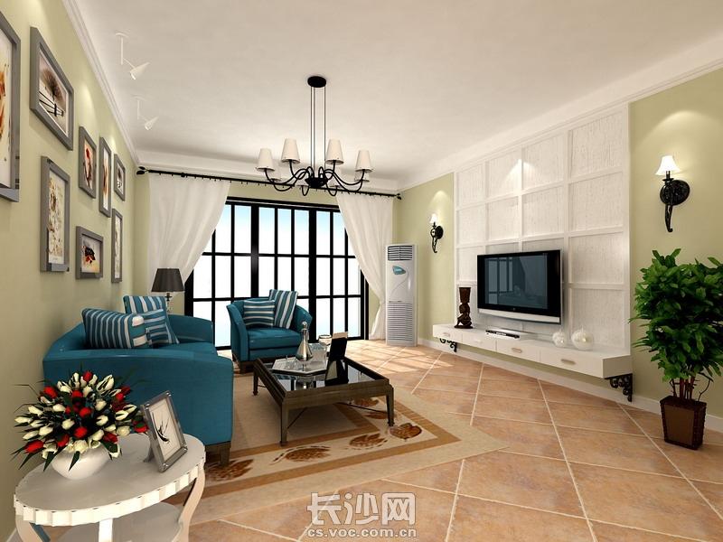 电信新村三室两厅美式风格客厅全景效果图赏析.jpg