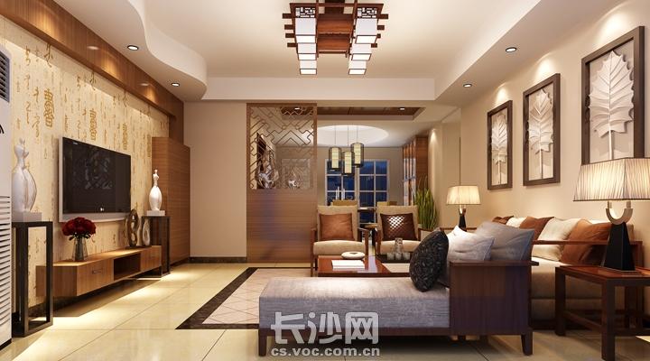 装修设计-桃阳苑现代中式风格效果图-客厅